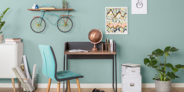 Home office including Bicycle Shelf by Mercury Row, Wayfair