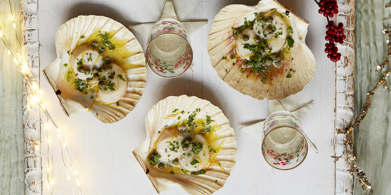 Christmas canap recipe scallops with caper and lemon for Christmas canape ideas