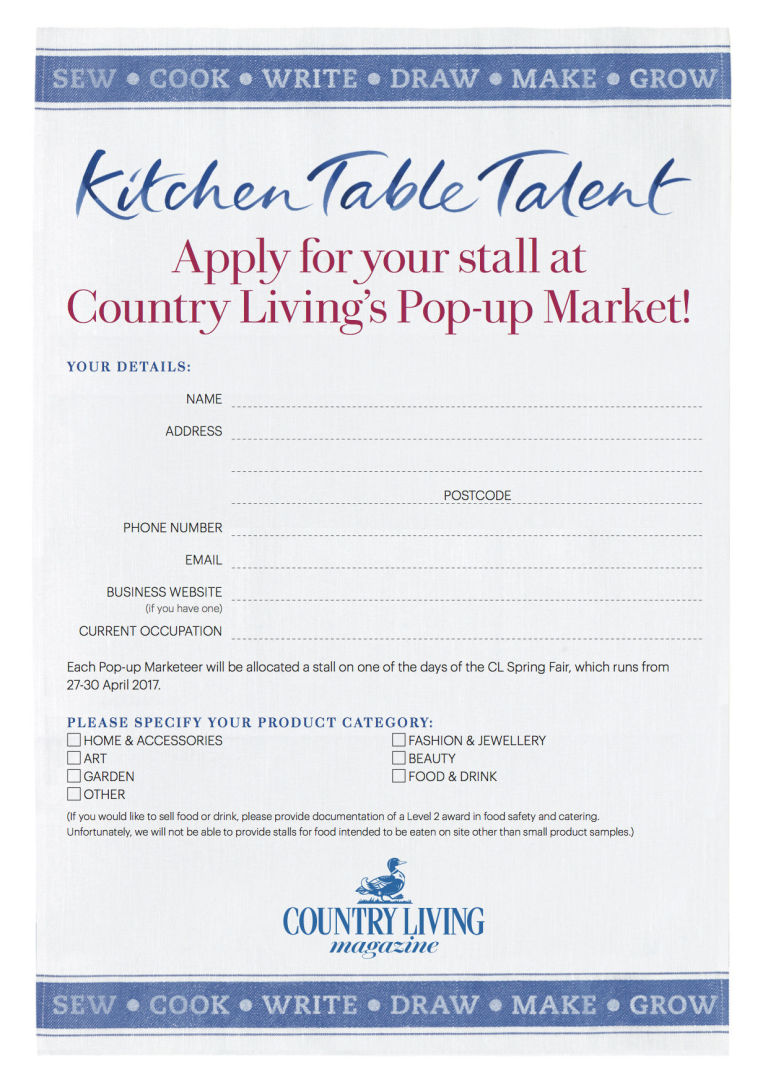 Country Kitchen Phone Number Pop Up Market Application Form For 2017 Country Living Spring Fair