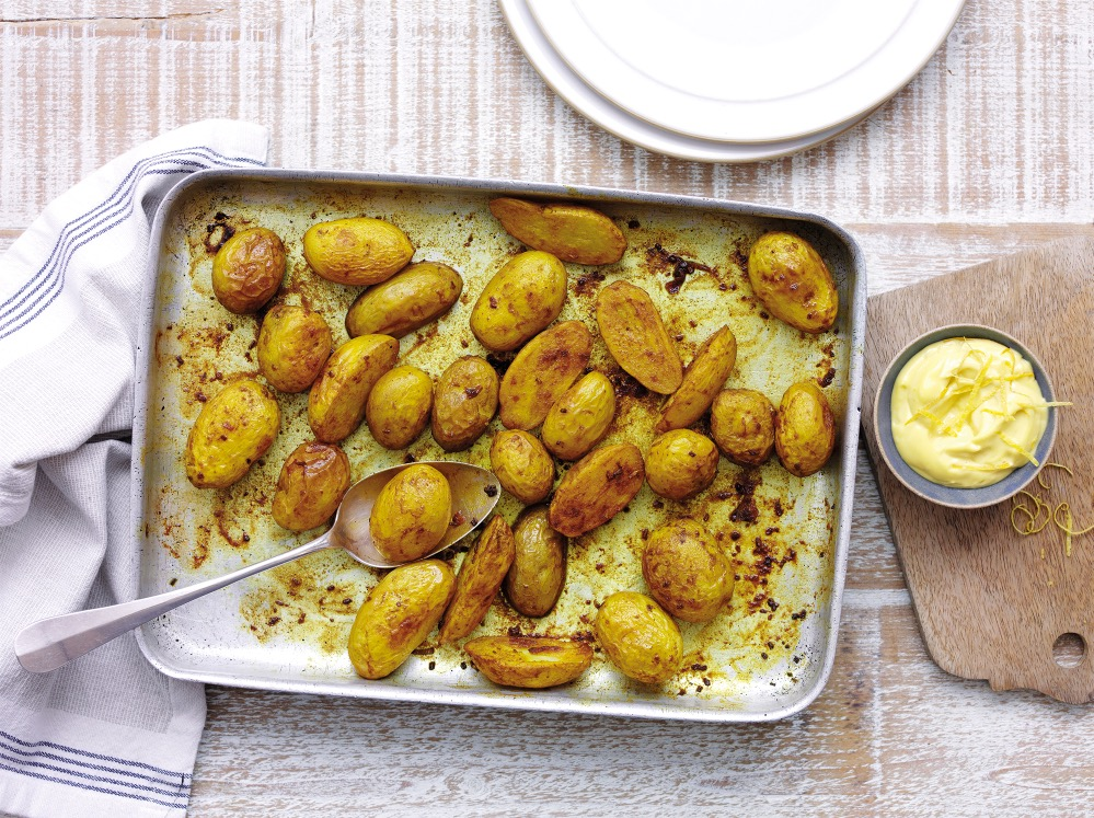 Turmeric roasted jersey royals with lemon aioli recipe for Country living magazine uk recipes