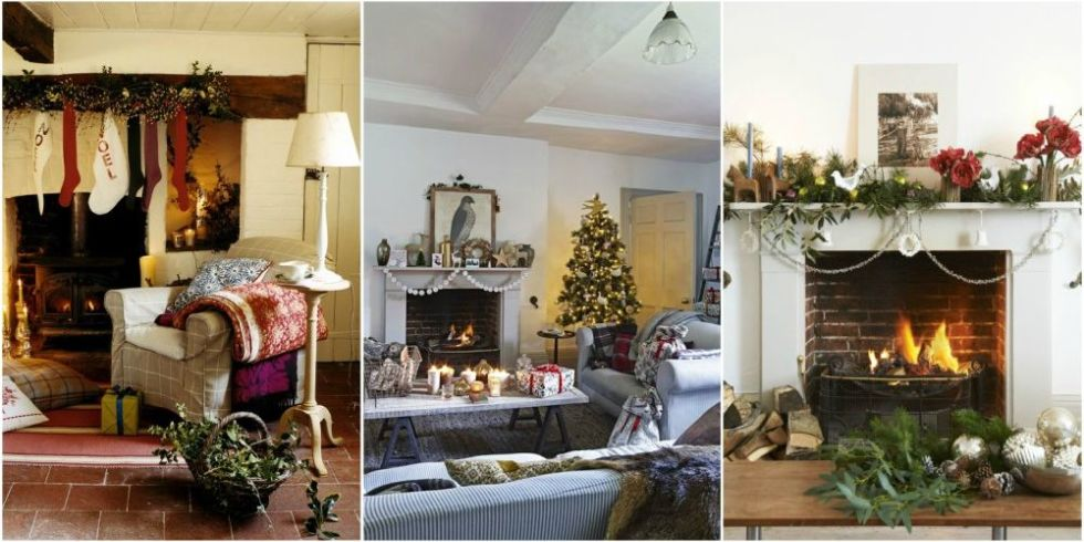 Create festive Christmas fireplace decor with these decoration ideas including Christmas fireplace garlands and decorations for the fireplace mantel